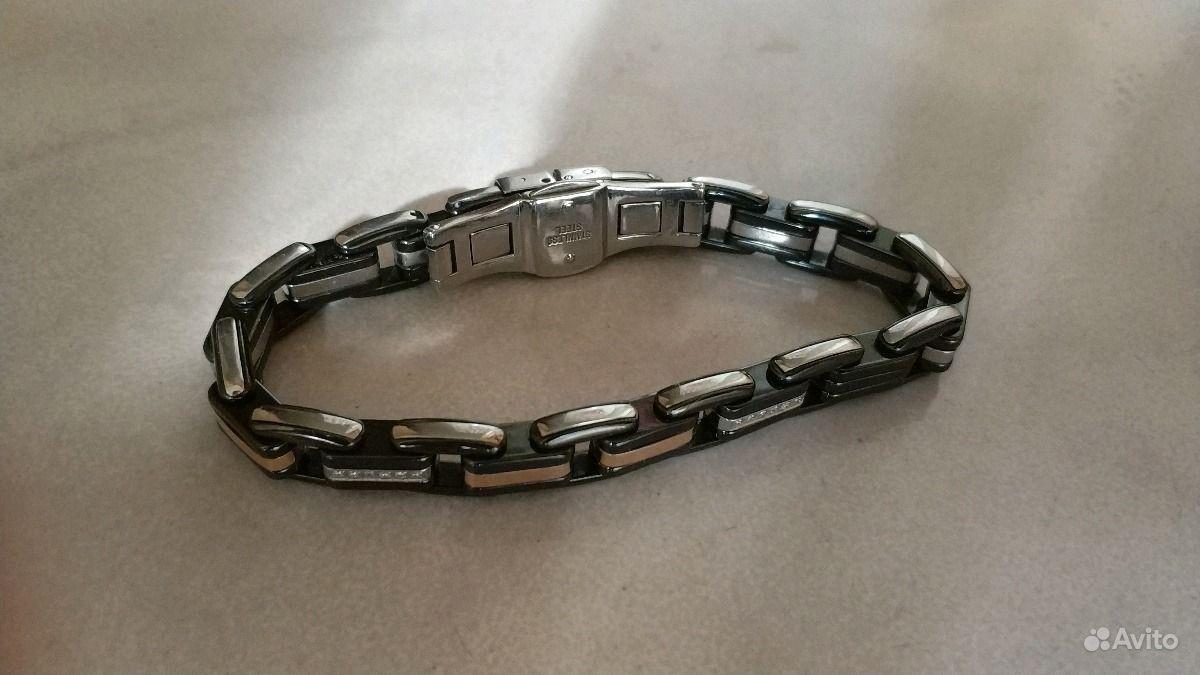 Мужской браслет Baraka Stainless Steel из нержавеющей стали с черной  керамикой, вставки из розового золота и бриллианты Возможен торг. Браслет 6c671ac0281
