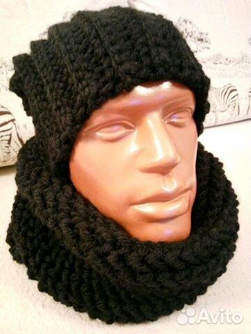 шапка бини и снуд вязаные мужские Festimaru мониторинг объявлений