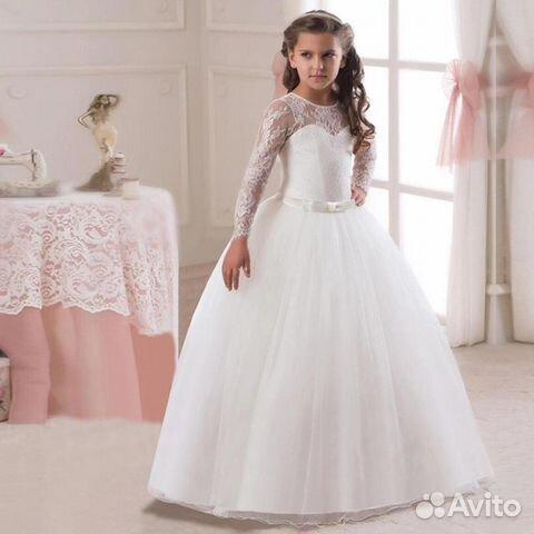 a68c2cf8769 Белое из кружева с рукавом платье
