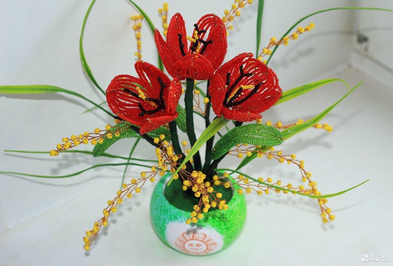 Цветы из бисера. Тюльпаны. Розы  89083089399 купить 1