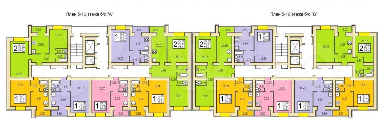 2-к квартира, 57.7 м², 16/16 эт.  89020452550 купить 2