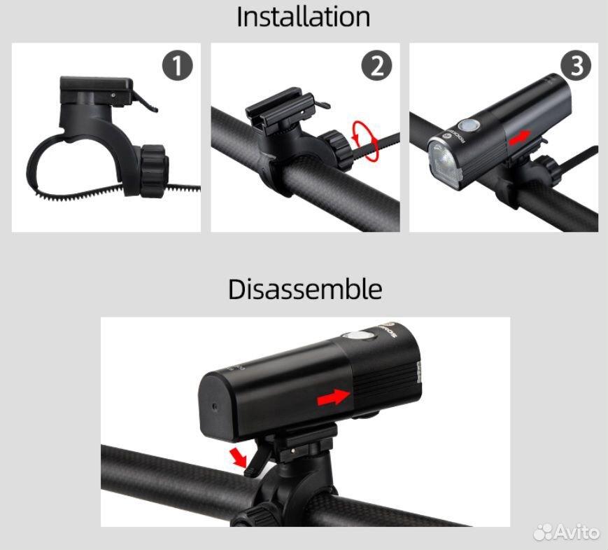 Велосипедный фонарь rockbros V6-800 89114539100 купить 5