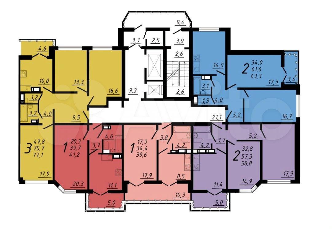 2-к квартира, 63.3 м², 5/17 эт.  89290111193 купить 4